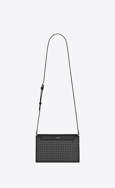 SAINT LAURENT Catherine Woman Catherine satchel in black leather with micro-studs and eyelets a_V4