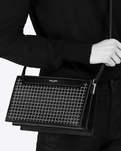 SAINT LAURENT Catherine Woman Catherine satchel in black leather with micro-studs and eyelets y_V4