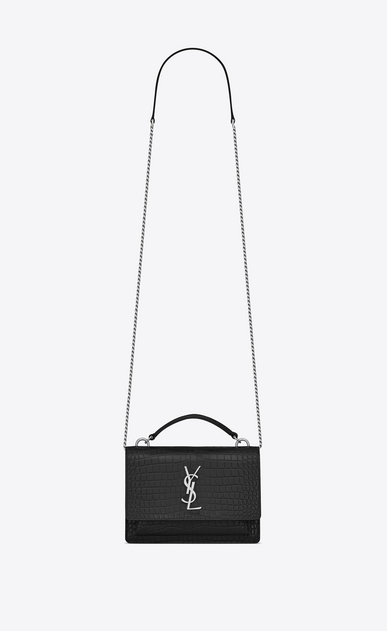 SAINT LAURENT Mini bags sunset Donna Portafogli Sunset con catena in pelle lucida stampata effetto coccodrillo nera a_V4