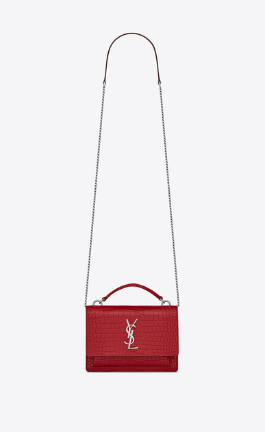 SAINT LAURENT Mini bags sunset Donna Portafogli Sunset con catena in pelle lucida stampata effetto coccodrillo rossa a_V4
