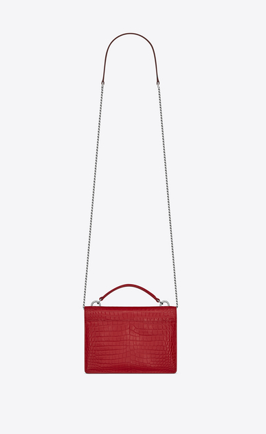 SAINT LAURENT Mini bags sunset Donna Portafogli Sunset con catena in pelle lucida stampata effetto coccodrillo rossa b_V4