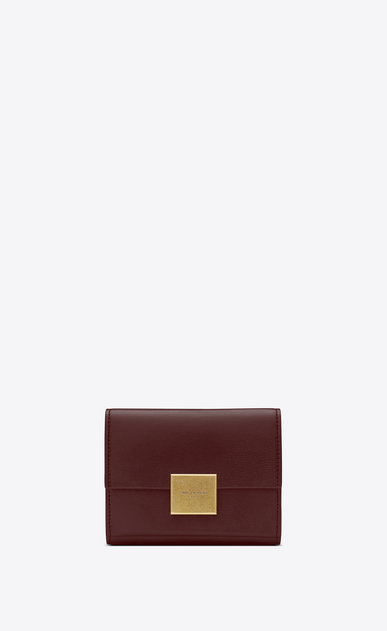 SAINT LAURENT Bellechasse SLG Woman Small Bellechasse envelope wallet in dark red leather a_V4
