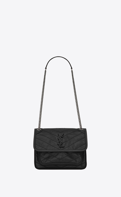 SAINT LAURENT Niki bags Donna Baby Niki chain bag in crinkled and quilted black leather a_V4