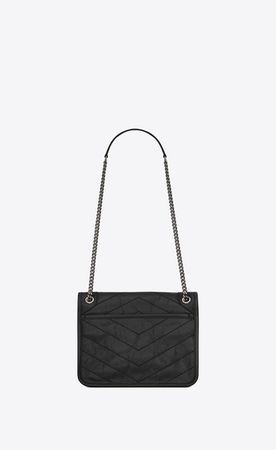 SAINT LAURENT Niki bags Woman Baby Niki chain bag in crinkled and quilted black leather b_V4