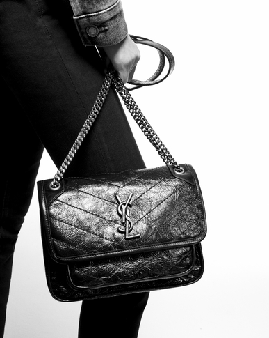 SAINT LAURENT Niki bags Woman Baby Niki chain bag in crinkled and quilted black leather y_V4