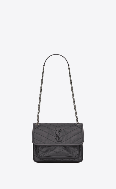 SAINT LAURENT Niki bags Woman Baby Niki chain bag in crinkled and quilted storm gray leather a_V4