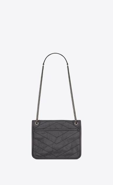 SAINT LAURENT Niki bags Woman Baby Niki chain bag in crinkled and quilted storm gray leather b_V4