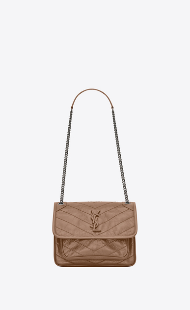 SAINT LAURENT Niki bags Woman Baby Niki chain bag in crinkled and quilted taupe leather a_V4