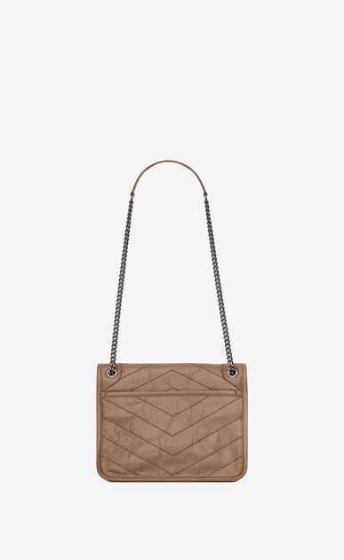 SAINT LAURENT Niki bags Woman Baby Niki chain bag in crinkled and quilted taupe leather b_V4