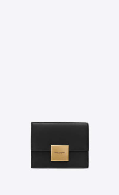 SAINT LAURENT Bellechasse SLG Woman Bellechasse business card holder in black leather a_V4
