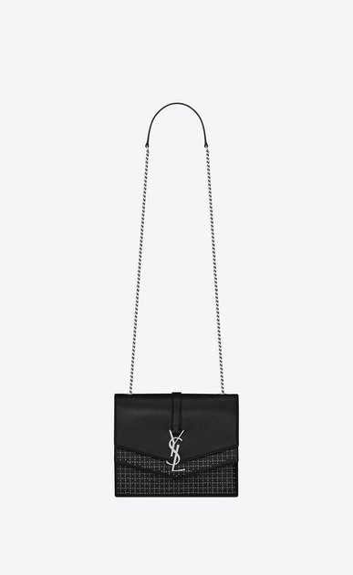 SAINT LAURENT Sulpice Woman Medium Sulpice chain bag in black suede with silver eyelets a_V4
