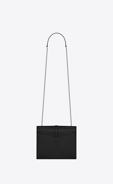 SAINT LAURENT Sulpice Woman Medium Sulpice chain bag in black suede with silver eyelets b_V4