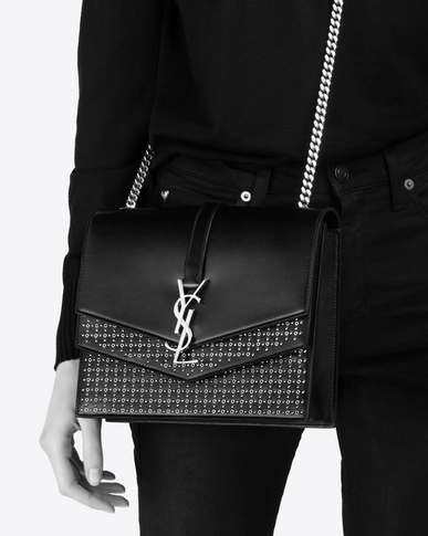 SAINT LAURENT Sulpice Woman Medium Sulpice chain bag in black suede with silver eyelets y_V4