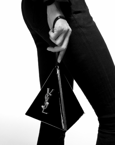 SAINT LAURENT Mini bags box Woman Pyramid clutch in pink leather y_V4