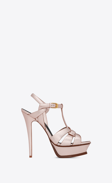 SAINT LAURENT Tribute Woman tribute sandal in metallic leather a_V4