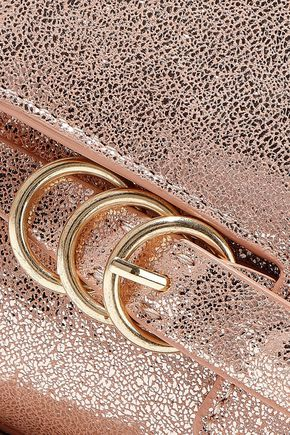 HALSTON HERITAGE Metallic cracked-leather shoulder bag