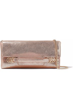 HALSTON HERITAGE Metallic cracked-leather shoulder bag