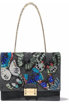 VALENTINO Embellished suede shoulder bag