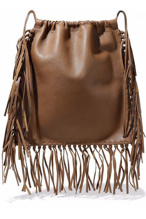 VALENTINO GARAVANI Fringed textured-leather backpack