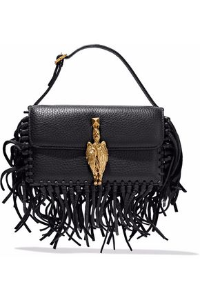 VALENTINO Gryphon fringe-trimmed textured-leather clutch