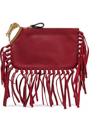 VALENTINO Aries fringe-trimmed embellished textured-leather clutch