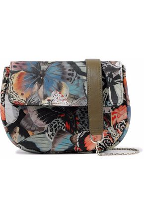 VALENTINO Leather-trimmed printed shell shoulder bag