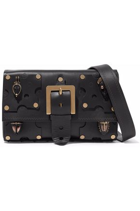 VALENTINO GARAVANI Appliquéd leather shoulder bag