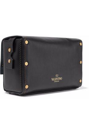 VALENTINO GARAVANI Embellished cutout leather shoulder bag