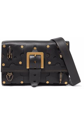 VALENTINO GARAVANI Embellished cutout leather shoulder bag
