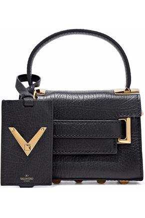 VALENTINO GARAVANI Embellished textured-leather shoulder bag