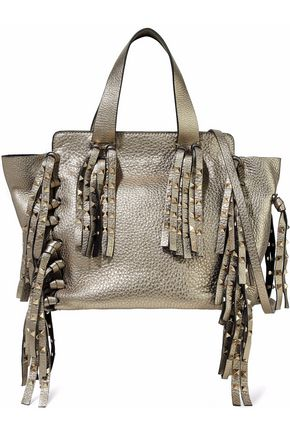VALENTINO GARAVANI Studded fringed metallic pebbled-shoulder bag