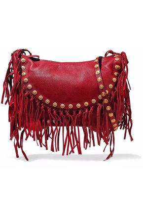 VALENTINO Fringed embellished textured-leather shoulder bag