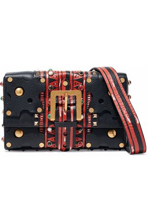 VALENTINO Studded printed textured-leather shoulder bag