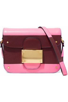 VALENTINO Rivet color-block leather shoulder bag