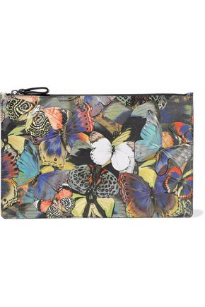 VALENTINO Camubutterfly leather-appliquéd printed canvas clutch