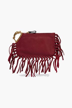 VALENTINO Gryphon fringe-trimmed embellished textured-leather clutch