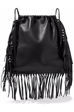 VALENTINO Fringed textured-leather backpack
