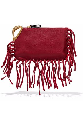 VALENTINO Pisces fringe-trimmed embellished textured-leather clutch