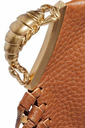 VALENTINO GARAVANI Scorpio fringe-trimmed textured-leather clutch