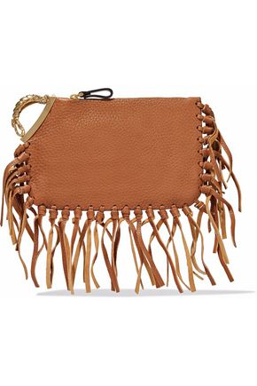 VALENTINO GARAVANI Scorpio fringe-trimmed textured-leather clutch
