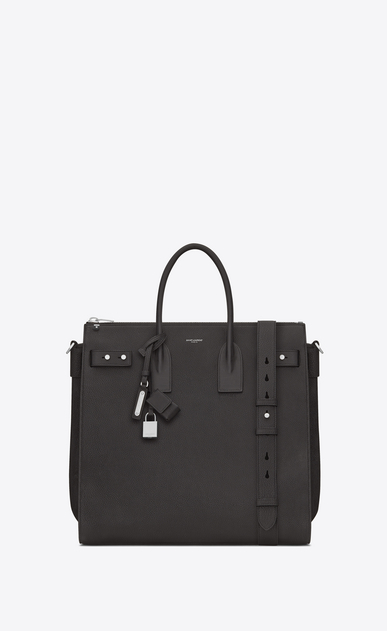 SAINT LAURENT Sac de Jour Men Homme Sac North/South SAC DE JOUR SOUPLE en cuir grainé gris STORM a_V4