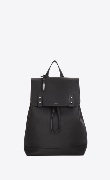 SAINT LAURENT Backpack Homme Sac à dos SAC DE JOUR SOUPLE en cuir grainé gris STORM a_V4