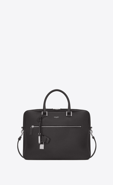 SAINT LAURENT Sac de Jour Men Homme Porte-documents SAC DE JOUR SOUPLE en cuir grainé gris STORM a_V4