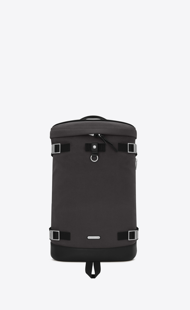 SAINT LAURENT Buckle Backpacks Man Rivington Race backpack in storm gray nylon and black leather. a_V4