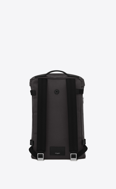 SAINT LAURENT Buckle Backpacks Man Rivington Race backpack in storm gray nylon and black leather. b_V4
