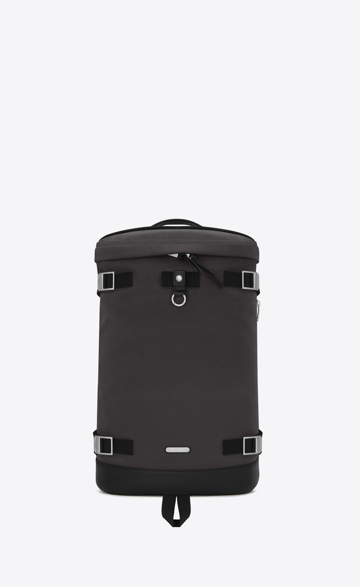SAINT LAURENT RIVINGTON RACE BACKPACK IN STORM GRAY NYLON AND BLACK LEATHER.