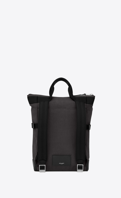 SAINT LAURENT Buckle Backpacks Man rivington race backpack in gray nylon canvas and black leather b_V4