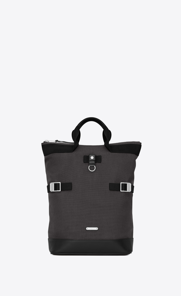 SAINT LAURENT RIVINGTON RACE BACKPACK IN GRAY NYLON CANVAS AND BLACK LEATHER