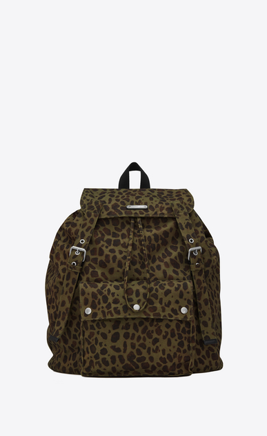 SAINT LAURENT Noé luggages Man Noé Saint Laurent backpack in khaki and black leopard print gabardine a_V4