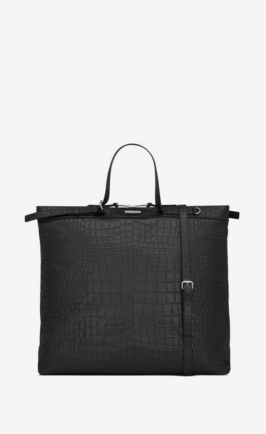 ID shopping bag in crocodile embossed leather